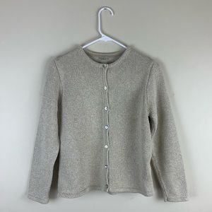 LL Bean Tan Knit Cardigan Sweater Button Front